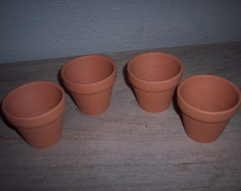 """4 Terra Cotta Pots For Planting Measures 2 1/2"""" Across and 2 1/2"""" Tall"""