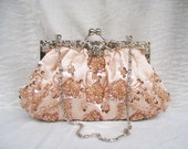 NEW -- Champagne Sparkle Beaded Wedding Purse Evening Clutch