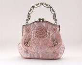 NEW -- Rose Pattern Silk Sparkle Beaded Wedding Purse Evening Clutch