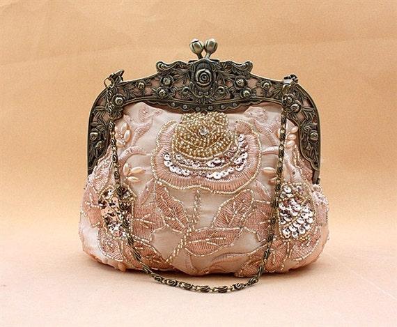 On Sale 35% OFF --Silk Sparkle Beading Wedding Purse Evening Clutch AC1001