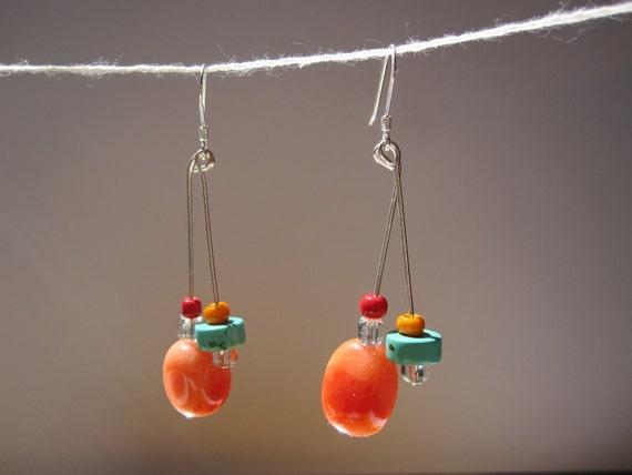 Natural Orange Nugget Stones Earrings