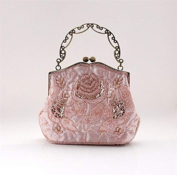 NEW -- Rose Pattern Silk Sparkle Beaded Wedding Purse Evening Clutch