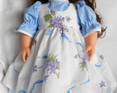 Dress and Pinafore with matching hairbow for American girl or 18 inch dolls NOW ON SALE