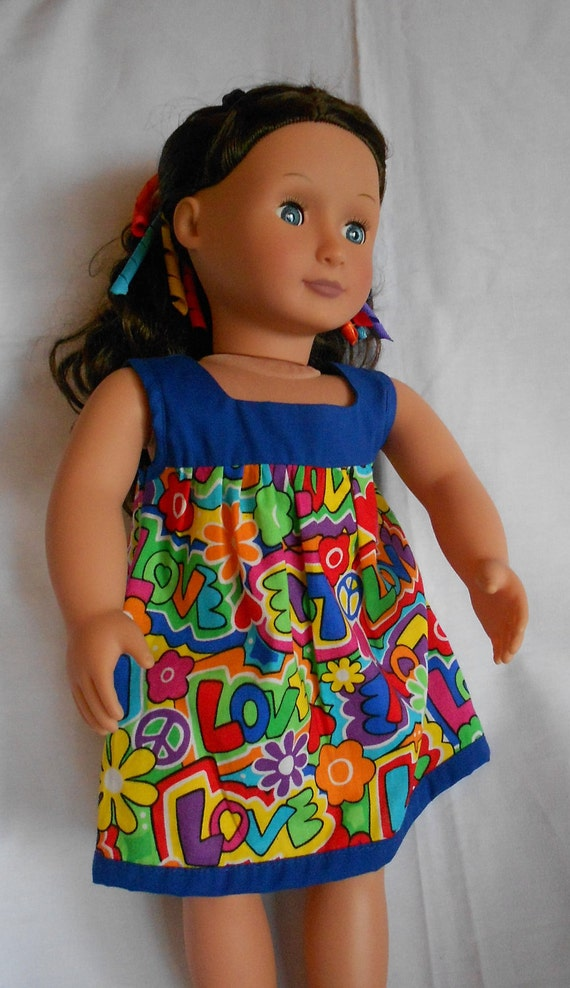 Funky blue summer sundress for Amercian Girl and other 18 inch dolls NOW ON SALE