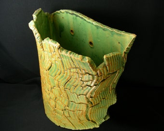 ChingWenArts Studio Pottery Handmade Stoneware Wall Pocket Vase Pot, Patina Green and Brown , Signed, W4580