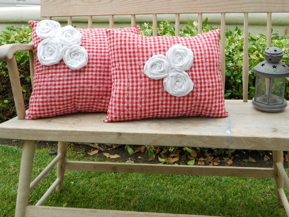 """Decorative Red Gingham Pillow - """"Country Picnic"""""""