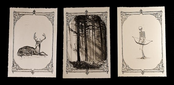 HUNTING - 3 Lithographic Print Set