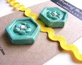 2 TURQUOISE BUTTONS Ceramic HEXAGON sewing millinery knitting or home decor by Pushing Buttons