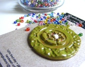 LARGE OLIVE CERAMIC art button for  home decor knitting jewelry making