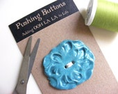 TURQUOISE ROCOCCO BUTTON ceramic  art organic round knitting crocheting accessory