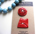 2 CHERRY RED CLAY art buttons  for knitting sewing mixed media art scrapbooking