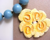 ORGANIC BUTTON ART handmade  yellow flower embellishment for home decor knitting sewing scarves cowls