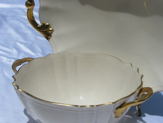 MID CENTURY Modern Serving Set Heavy 24 Kt Gold Trim VALENCIA Lenox Platter and Serving Bowl