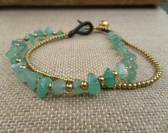 Jade  Brass Chain Bracelet