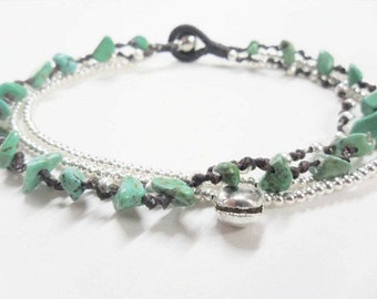 Anklet Silver Chain Turquoise