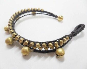 Triple  Braid Brass Jingling Bracelet