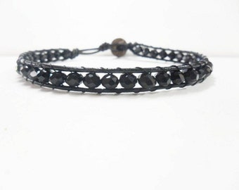 Sort  tablets Black Crystal Leather Anklet