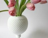 Vintage Westmoreland English Ivy Hobnail Milk Glass Vase mothers day
