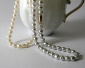 Avon Classic Baroque Pearl Necklaces - cream white gray vintage 1982 wedding bride