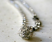 Vintage Rhinestone Bracelet with Dangle Ball Charm - 1950s tennis