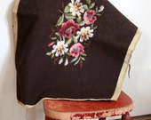 Vintage Brown Wool Floral Embroidered Textile Tapestry pink white green flowers home decor