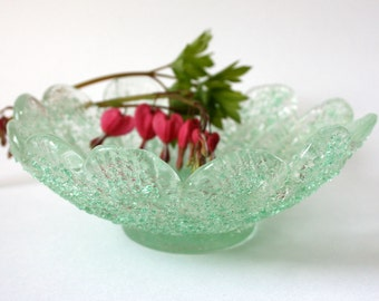Vintage Light Green Dish - rough surface candy 1950s