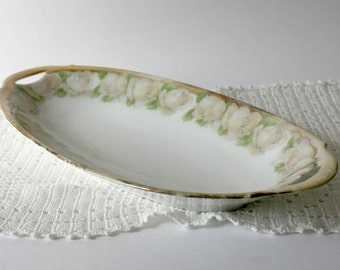 Vintage Bavarian Relish Dish - pale pink flowers green gold trim