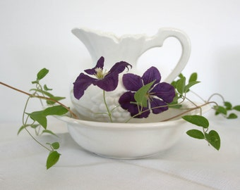 Vintage White Pitcher and Saucer - Ideal Pottery Company California spring mothers day easter