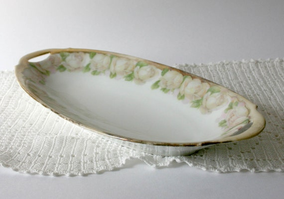 Vintage Bavarian Relish Dish - pale pink flowers green gold trim