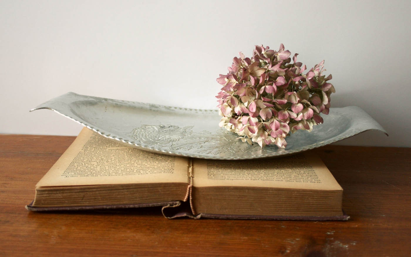 Vintage Hammered Aluminum Tin Tray with by
