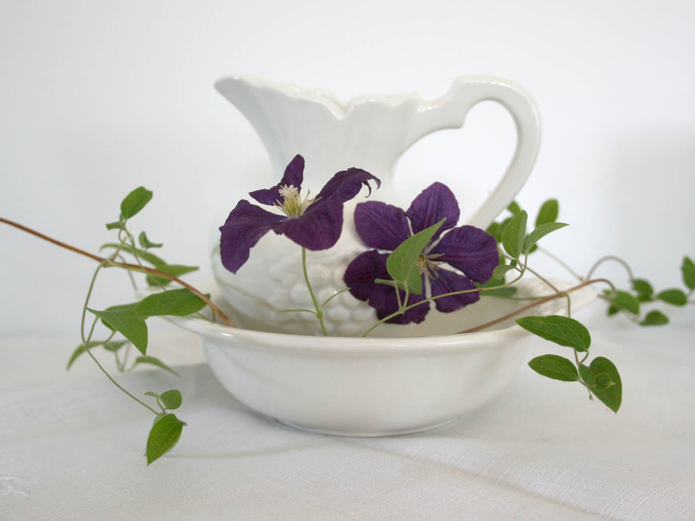 vintage white pitcher and saucer ideal pottery company