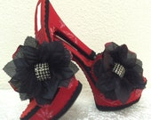 Sexy Red & Black Platform With Black Crystal Flower