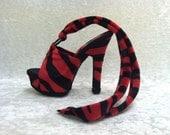Ankle Strap Red & Black Animal Print Platform Heels Sz 6 Exotic Dancer Stripper, Rocker
