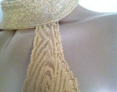 Gorgeous Gold Body Suit / Romper with Choker Neck and Super Low Back SZ  M
