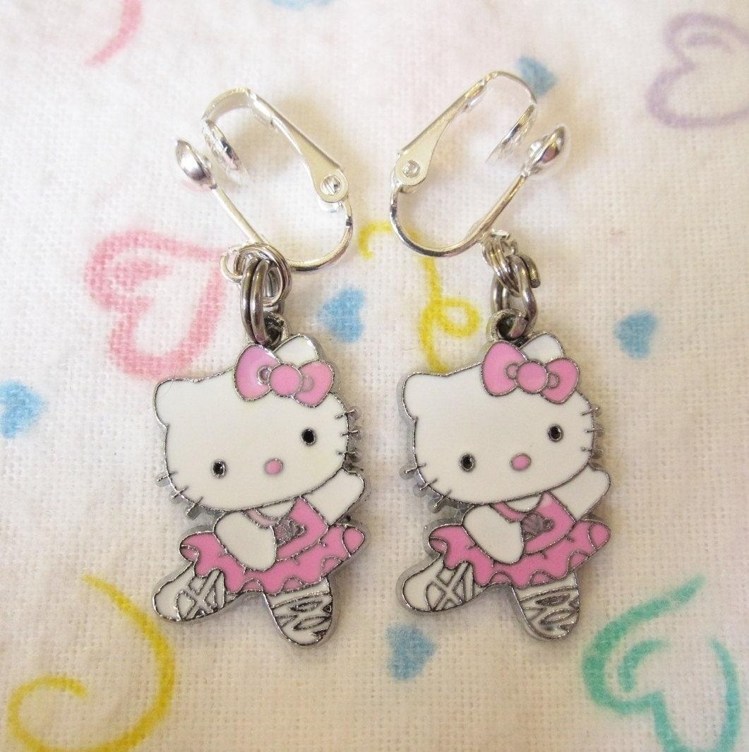 Sweet ballerina hello kitty ballet dancer clip on earrings - Ballerine hello kitty ...