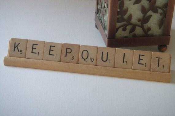 """Vintage Scrabble Tile Phrase """"Keep Quiet"""""""