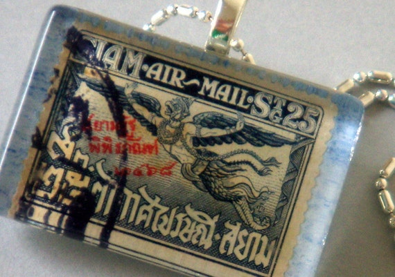 Vintage Siam (Thailand) Air Mail Postage Stamp Pendant Necklace