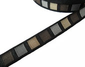 "Ribbon G020 - Per 3 Yard x 14mm 5/8""( Gold Brown Gray on Black )  Nylon trim, Handbag/Bow/fascinator/head band Material"