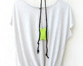 Neon Tribal Green Crochet Necklace / Summer Fashion - Fiber necklace neon for surf and beach europeanstreetteam