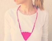 Tribal Triangle Neon Beach Necklace  / Summer fashion / Pink Fiber Bib Necklace/ europeanstreetteam christmasinjuly