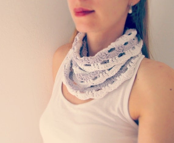Lilac White Lace Infinity Scarf Hand Crochet / Purple and White Stripes Fashion Accessory EuropeanStreetTeam