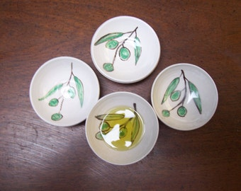 set of 4 olive oil dipping bowls