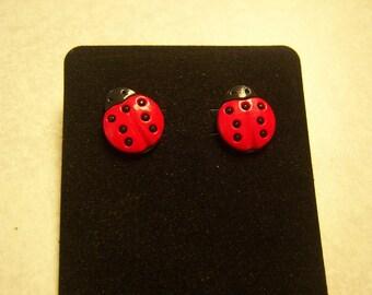 Pierced or Clip On Ladybug Earrings