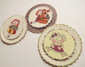 3D Cartoon Handmade Embellishments, Set of 3 different designs