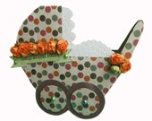 Vintage Baby Buggy Shaped Card, Retro Newborn Carriage Card