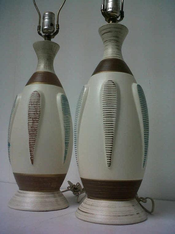 Vintage Mid-Century Danish Modern Ceramic Table Lamps (Pair)  -  Great Mad Men / Eames Era Decor