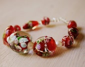 Bracelet-Red, Blue and Pearl Flower, Made with Glass Beads