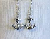 Anchor Charm Earrings - Dangle - Sterling Silver