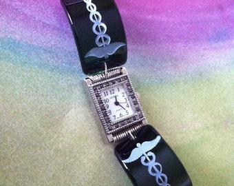 Caduceus Sandcarved on Glass Watch