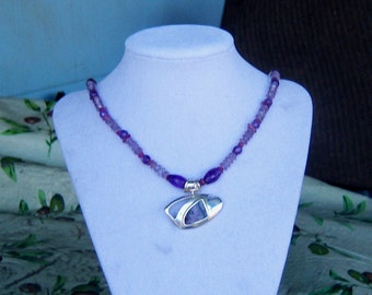 Beautiful Amethyst and Tourmaline Necklace with Sterling Silver and Boulder Opal Pendant